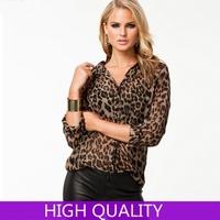 XXXL New 2015 Chiffon Blouses European Brand Leopard Pattern Turn-Down Collar Single Breasted Blouse Women Clothing In Stock
