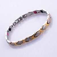 """Wholesale 5pcs/lot Magnetic 316L Stainless Steel Bracelets With 3PCS Detachable Clasp 18k Gold For Men Women 8.5''-9.5"""" SS007BW"""