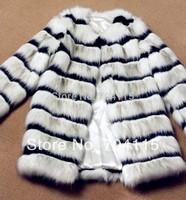 Fashion Black and White Stripes Medium-Long Women Fox Fur Coat
