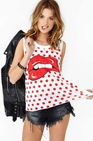 lips printed vest pop sleeveless girl T-shirt for wholesale and free shipping