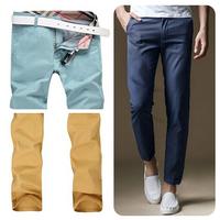 2014 New! Summer&Fall Natural Cotton Slim-Fit Mens Casual Pants/Ten Colors to Choose Men Pants Brand/Fashion Design Men Trousers