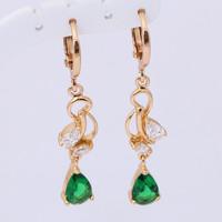 owl earrings vintage 18k gold plated Crystal Party fashion Jewelry Green Zirconia Drop Earrings JE641