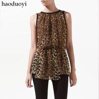Black chiffon leopard print usuginu blouse sleeveless slim waist leopard print chiffon shirt