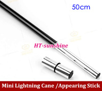 Wholesale  Mini Lightning Cane 50cm appearing stick black magic trick/magic prop Free Shipping