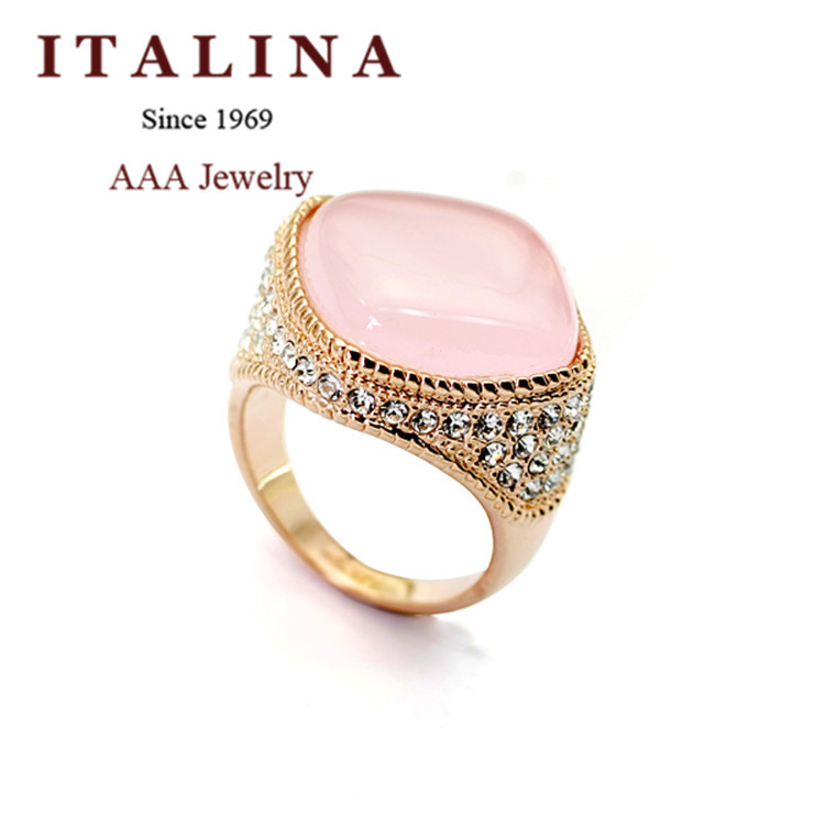 New 2015 Fashion ITALINA Brand Jewelry 18K Champagne Gold Plated Luxury Pink Cat Eye's Stone Big Opal Ring For Women Party Gift(China (Mainland))