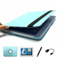 4 in 1, Soft Protective Book Cover Case For Samsung Galaxy Tab 3 10.1 P5200/P5210 + Screen Protector + Stylus + OTG Free Shipp