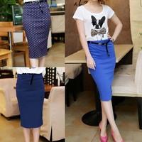 Candy color elastic slim high waist slim hip skirt pencil skirt bust skirt polka dot step skirt
