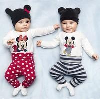 Retail Autumn 2015 0-24months baby wear boys romper babys style romper print cartoon rompers +hat+pants 3pcs set