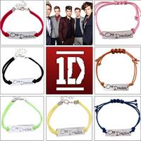 New 2014 promotion hip hop fashion charm bracelet Hot sale handmade Cheap Korean Suede One Direction Bracelet for men