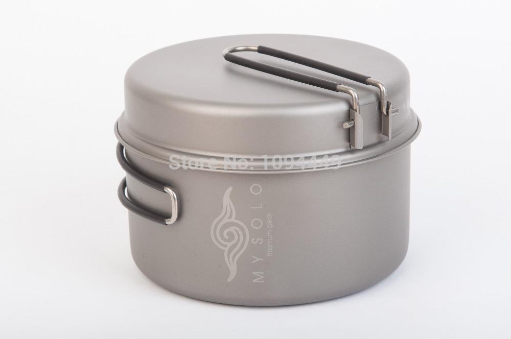 MySolo c2 titanium cookware/titanium pot fry pan /camping cookset/1.2L /free shipping(China (Mainland))