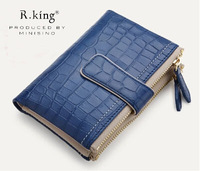 2014 New Arrival Women's Vintage Double Zipper Short Design Cowhide Genuine Leather Wallet , High Quality Leather Purse ,