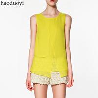 Candy color fashion women's patchwork chiffon sleeveless shirt sleeveless shirt