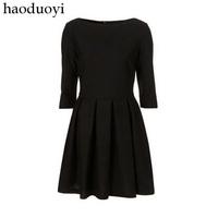 2015 vintage elegant slim Hepburn black three quarter sleeve dress
