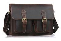 Leather shoulder bag women men messenger bag England style college school book bag TIDING 1103