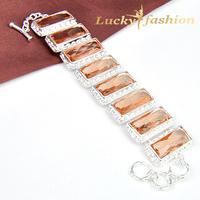 Fashion orange luxury bride rectangle bracelet crystal bangle fashion women accessories jewelry