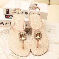 Free shipping 2015 summer new super flash gem stones pinch Women flat sandals Roman shoes with Women 260