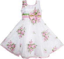Vestido da menina de verão cópia Floral Bow Tulle partido Pageant casamento princesa crianças crianças vestuário tamanho 4-14(China (Mainland))