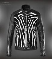 Free shipping new fashion high quality LUXURY famous brand DSQ jacket leather coat skinny short men spliced jacket with Zebra