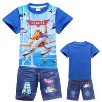 Summer Planes Kid Clothes Sets Children t shirts + Kids Pants Sport Suit Vestidos Boys Costumes Baby Boy Clothing Set Conjuntos
