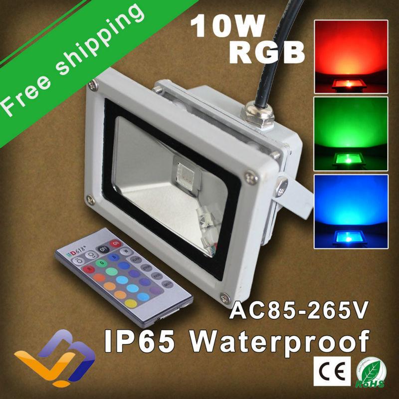 2pcs/lot free shipping 10W LED Flood light IR remote control 110V 120V 220V 230V RGB Waterproof Spotlight Projection lamp(China (Mainland))
