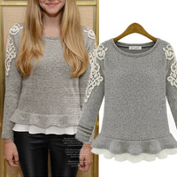 2015 Winter Autumn Embroidery Lace O-neck Skirt Pullover Wool Sweater Female short slim design Cashmere Tops,Tricot S-XXL #01553