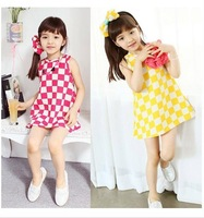 Free Shipping-2014 Summer New Style Girls Flowers Check Sundress 100%Cotton Fashion& HighQuality 2 Colors