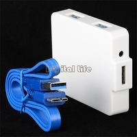 2014 New Arrival White USB 3.0 Hub 4 Ports Super Speed 5Gbps computer accessories 19478