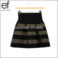 2014 New Arrival Womens Fashion Brand Fluffy Rivet High Waist Elastic Ball Gown Women's Short Skirts Ladies Punk Cool Skirts