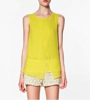 Women Blouses High Quality Irregular Stack Sleeveless Plus Size Chiffon Shirt New Fashion 2014 CamisasTops Clothing Candy Color