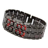 2014New Fashion Men Women Lava Iron Samurai Metal LED Faceless Bracelet Watch Wristwatch Stainless Steel Novelty Item for Gift