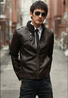 2014 New Men's Slim Leather Jacket Fashion Top Brand Water Wash Motorcycle Leather Jacket Outerwear PU 3 Color 4 Size M L XL XXL