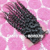 4*4 Lace top Closure virgin brazilian hair curly free part centre part 3way part natural black bleached knots 10 12 14 16 18inch
