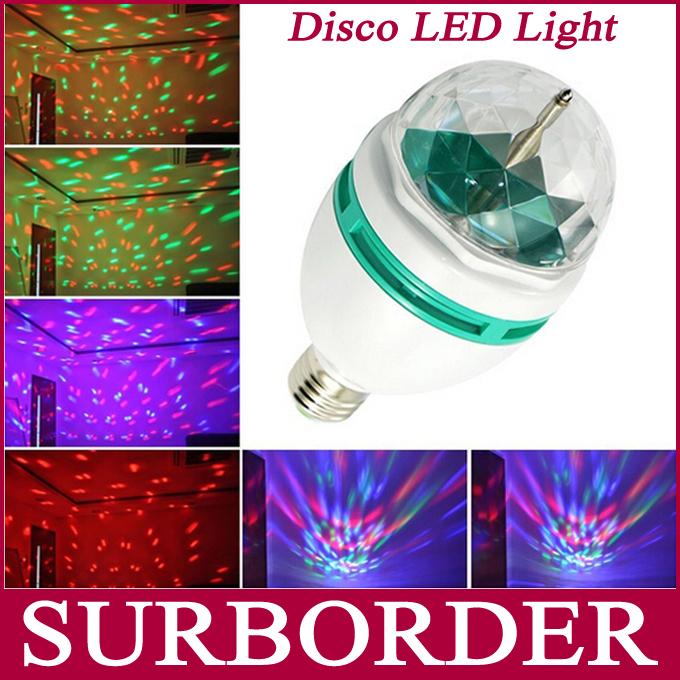 Mini RGB Crystal Ball Effect Disco Ball Light E27 LED Rotating Stage Lighting For Disco DJ Party(China (Mainland))