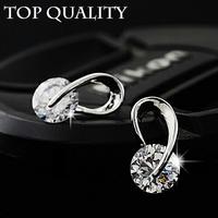Austria CZ Diamond Elegant wedding Classic Brand Plated silver Fashion zircon crystal stud earrings jewelry for women 2014