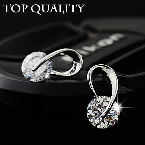 Austria CZ Diamond Elegant wedding Classic Brand Plated silver Fashion zircon crystal stud earrings jewelry for women 2014(China (Mainland))