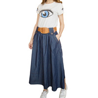 2014 Skirts Womens Washed Denim Skirts Casual Thin Ankle-length Long Skirt Ball Gown Skirts Jeans With Belt 513# Free Shipping
