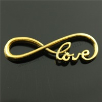 20pcs/lot 39*15mm 3 colors antique gold, Antique Bronze, antique silver plated Love Infinity Connector Charms