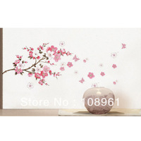 2014 New Cherry Peach Blossom Flower Branch Butterfly Removable PVC Art Wall Sticker Wall Decor Decals DIY