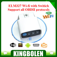 2014 Factory Price New White MINI ELM 327 WIFI ON/OFF Switch OBD2 / OBDII ELM327 V1.5 for Android IOS Auto Scanner FREE SHIPPING
