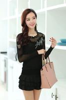 Heidegger 2014 spring lace shirt Women transparent long-sleeve cutout neckline basic shirt