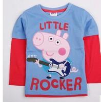 New Autumn Spring Child Baby Boys  Long sleeve Brand NOVA Cartoon Peppa Pig George Pig Little Rocker Cotton T Shirts H0140066