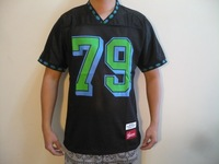 2014 new 79 Jersey hiphop mens diamonds rib round neck Football Top breathable round neck t shirt tee black Promotion