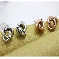 Women's jewelry.Free shipping.Wholesale/retail fashion women's circle stud earrings.Generous 18KGP white/rose gold stud earrings