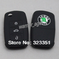 Silicone Key Shell Case Cover For Skoda Octavia Superb Fabia Rapid 3 Three Keys with black color free shipping
