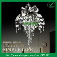 Free Shipping Modern Big luminaire Lotus Crystal Light Stainless Steel Flower Chandelier Living room Light fixture