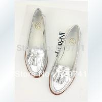 new 2014 summer womengenuine leather sheepskin flat tassel silver single shoes single shoes women shoes