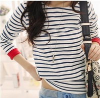 New Women's Leisure O-Neck Shirt Striped Long Sleeve Shirts Tops blouses for women Clothing S-XXL Plus Size #01569