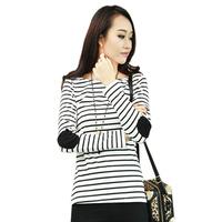 2014 New Autumn Winter Fashion trendy women ladies clothes striped tops stripes T shirts Free Shipping S-XXL Plus Size #01570
