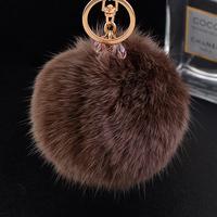Car key female drop pendant rabbit fur ball plush keychain key chain