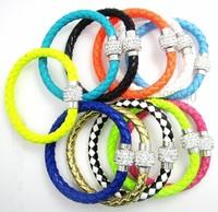 1PCS Wholesale Hot PU Leather Bracelet & Disco Ball Crystal Shamballa Magnetic Clasp Bracelet 02